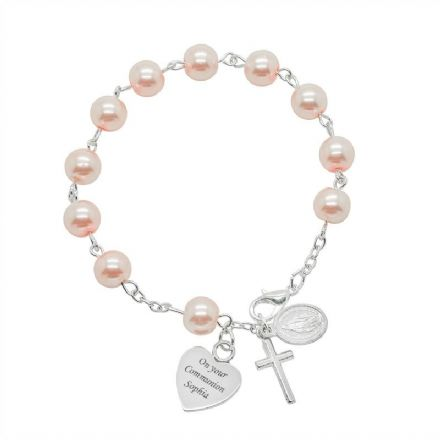 Personalised Rosary Bracelet in White or Pink